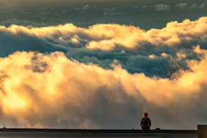 Haleakala Visitor Above Clouds Sunset
